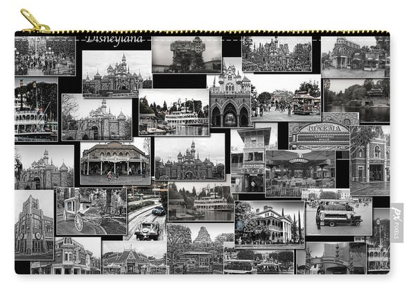 Disneyland Ca Black And White Collage Carry-all Pouch