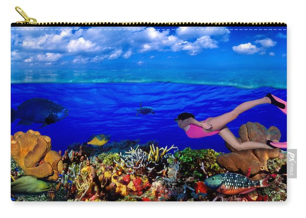 Diver Along Reef With Parrotfish, Green Carry-all Pouch