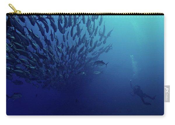Diver Photographs A Massive School Carry-all Pouch