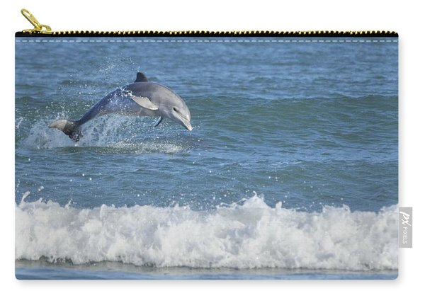 Dolphin In Surf Carry-all Pouch