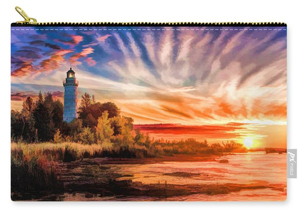 Door County Cana Island Lighthouse Sunrise Panorama Carry-all Pouch