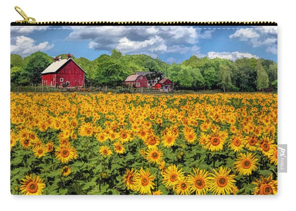 Door County Field Of Sunflowers Panorama Carry-all Pouch
