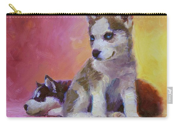 Double Trouble - Alaskan Husky Sled Dog Puppies Carry-all Pouch