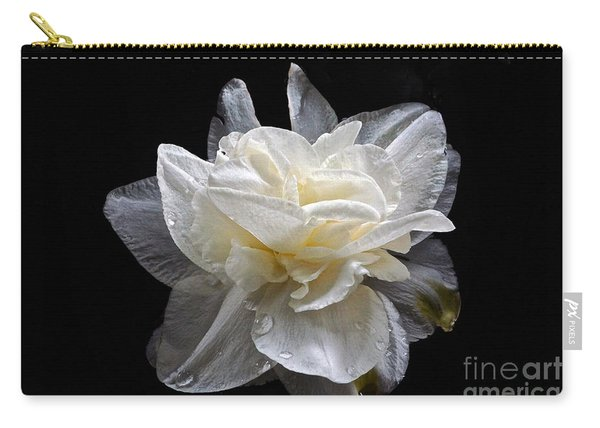 Double White Daffodil In Dark Water Carry-all Pouch