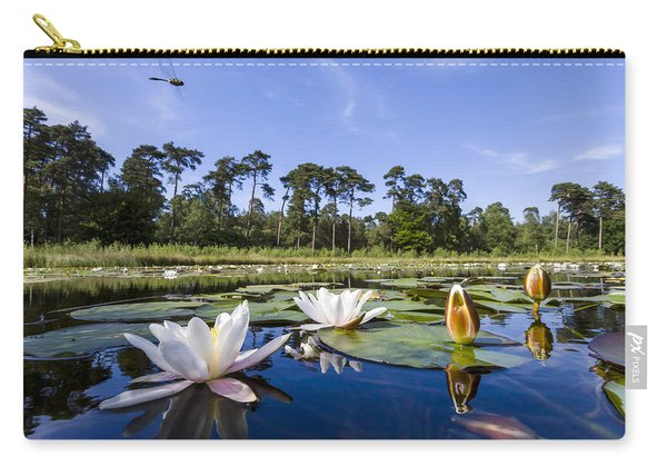 Downy Emerald Dragonfly Flying Over Lake Carry-all Pouch