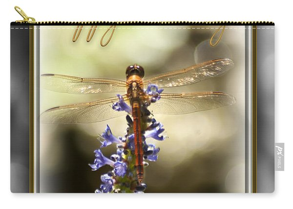 Carry-all Pouch featuring the photograph Dragonfly Birthday Card by Carolyn Marshall