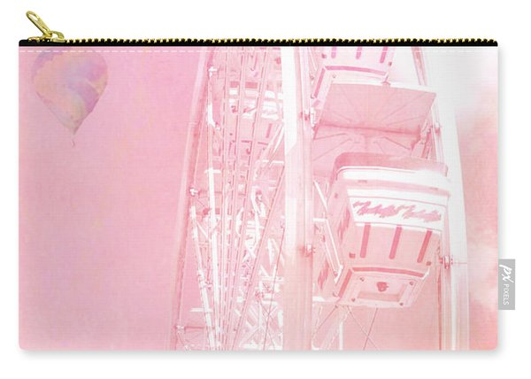 Dreamy Baby Pink Ferris Wheel Carnival Art With Hot Air Balloons Carry-all Pouch