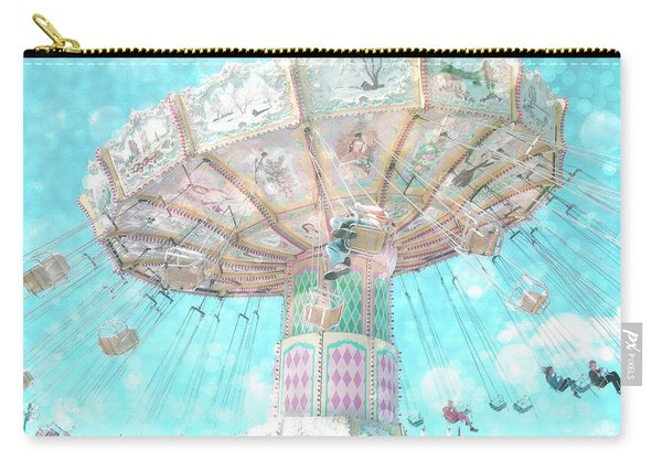 Dreamy Carnival Ferris Wheel Swing Ride Aqua Teal Blue Bokeh Circles Hearts Decor Carry-all Pouch