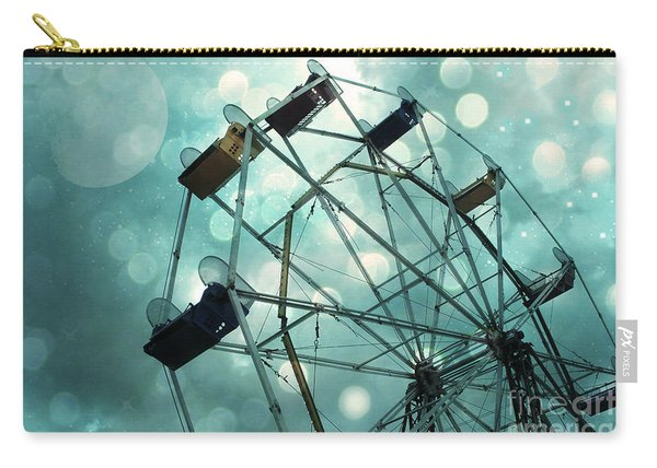 Ferris Wheel Mint Green Teal Carnival Ride With Moon Bokeh Circles - Carnival Ferris Wheel Carry-all Pouch