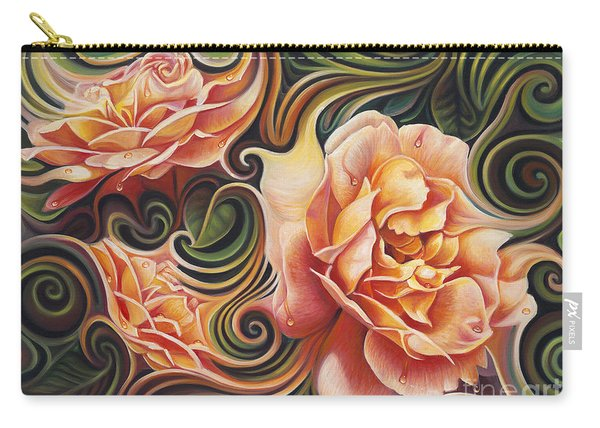 Dynamic Floral V  Roses Carry-all Pouch