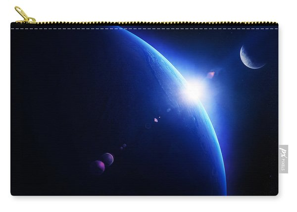 Earth Sunrise With Moon In Space Carry-all Pouch