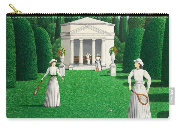 Edwardian Ladies Playing Tennis, 1978 Acrylic On Linen Carry-all Pouch