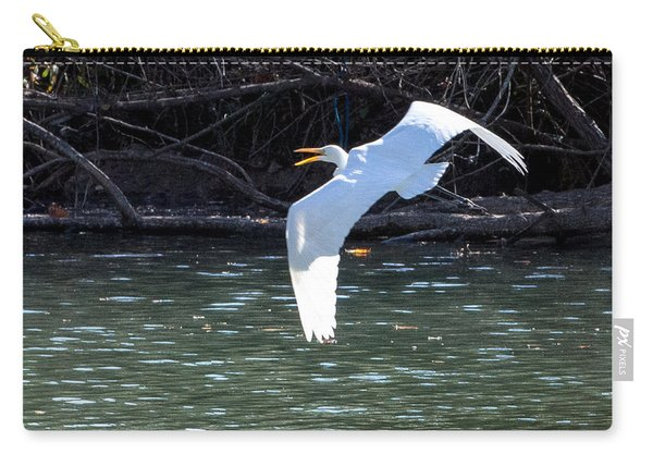 Egret In Flight Carry-all Pouch