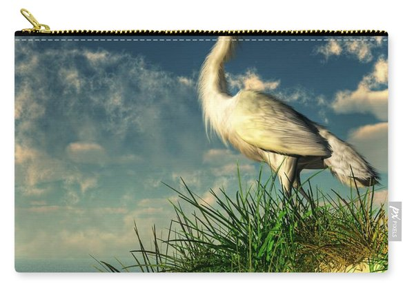 Egret In The Dunes Carry-all Pouch