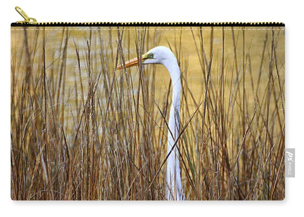Egret In The Grass Carry-all Pouch