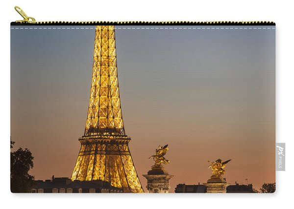 Carry-all Pouch featuring the photograph Eiffel At Twilight by Brian Jannsen
