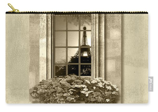 Eiffel Reflection In Sepia Carry-all Pouch
