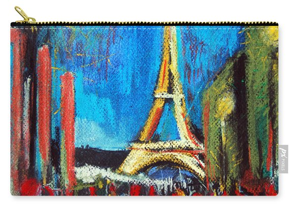 Eiffel Tower And The Red Visitors Carry-all Pouch