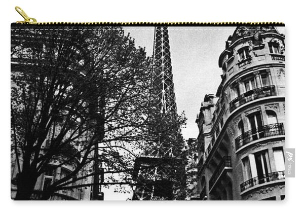 Eiffel Tower Black And White Carry-all Pouch