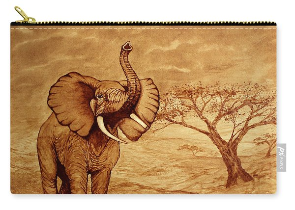 Elephant Majesty Original Coffee Painting Carry-all Pouch