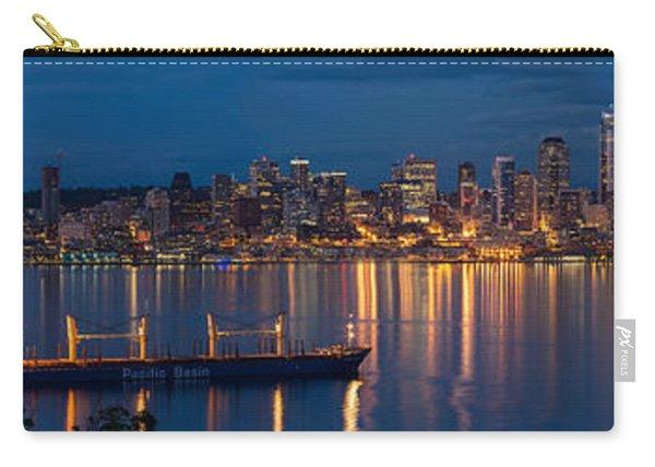 Elliott Bay Seattle Skyline Night Reflections  Carry-all Pouch