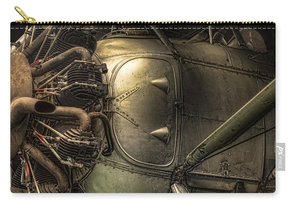 Radial Engine And Fuselage Detail - Radial Engine Aluminum Fuselage Vintage Aircraft Carry-all Pouch