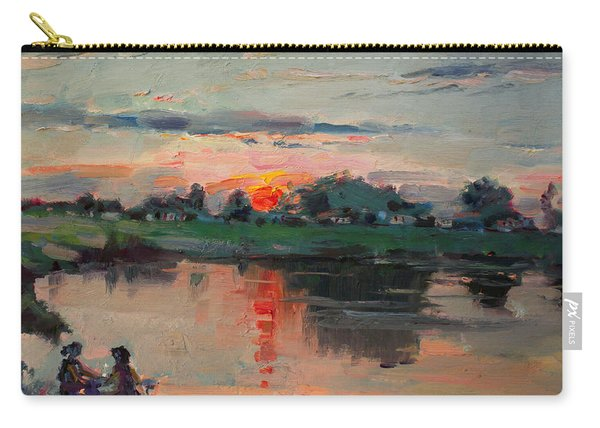 Enjoying The Sunset By Elmer's Pond Carry-all Pouch