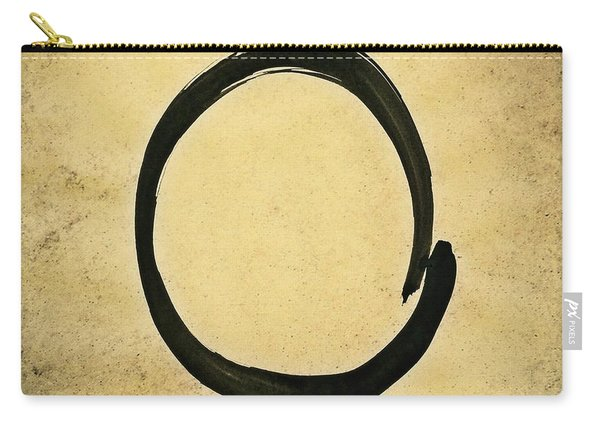 Enso #4 - Zen Circle Abstract Sand And Black Carry-all Pouch