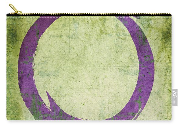 Enso No. 108 Purple On Green Carry-all Pouch