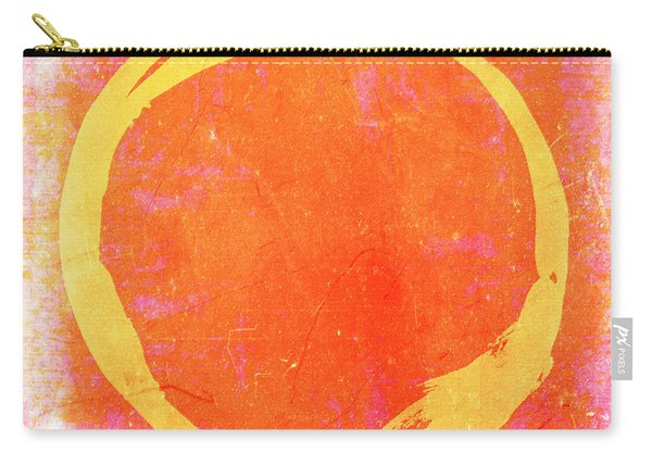 Enso No. 109 Yellow On Pink And Orange Carry-all Pouch