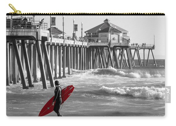 Existential Surfing At Huntington Beach Selective Color Carry-all Pouch
