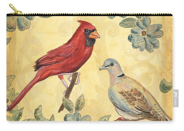 Exotic Bird Floral And Vine 2 Carry-all Pouch