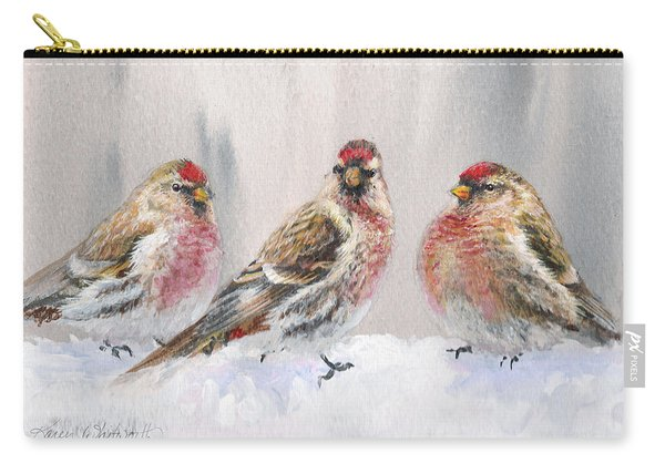Snowy Birds - Eyeing The Feeder 2 Alaskan Redpolls In Winter Scene Carry-all Pouch