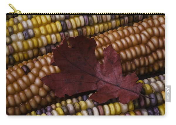 Fall Indian Corn With Leaf Carry-all Pouch