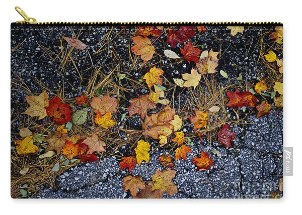 Fall Leaves On Pavement Carry-all Pouch