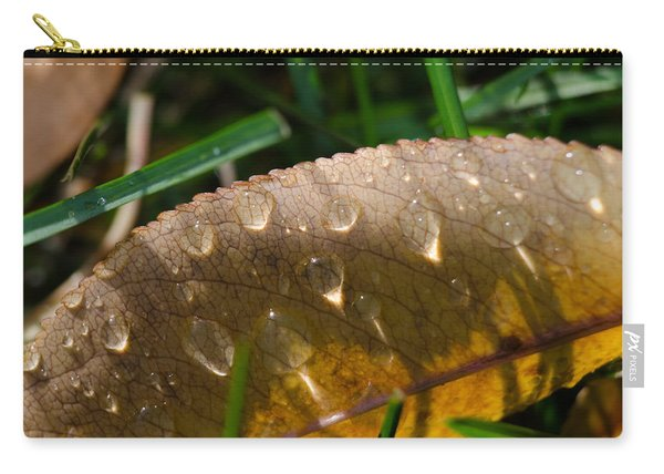 Fall Morning Leaf And Dew Carry-all Pouch