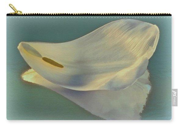 Fallen White Petal On Aqua Carry-all Pouch
