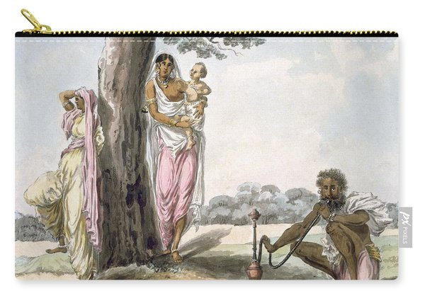 Family Man Smoking A Hookah And Girl Carry-all Pouch