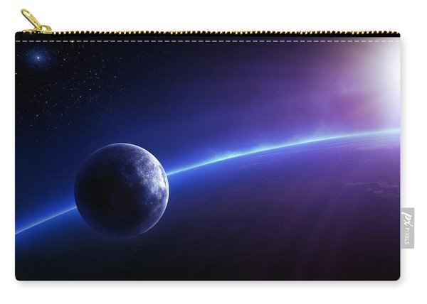 Fantasy Earth And Moon With Colourful  Sunrise Carry-all Pouch
