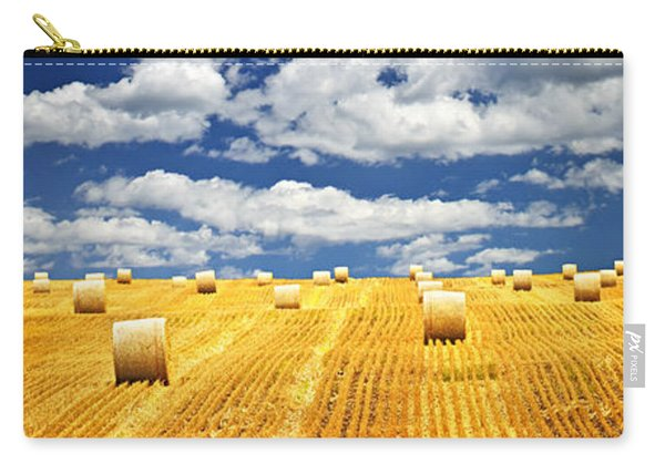 Farm Field With Hay Bales In Saskatchewan Carry-all Pouch