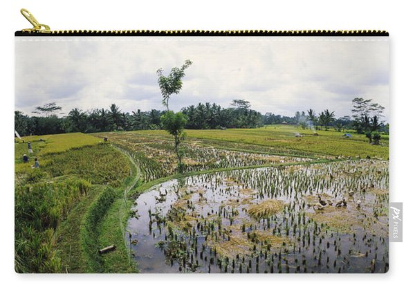 Farmers Working In A Rice Field, Bali Carry-all Pouch