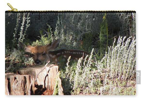 Carry-all Pouch featuring the photograph Fawn Front Yard Divide Co by Margarethe Binkley