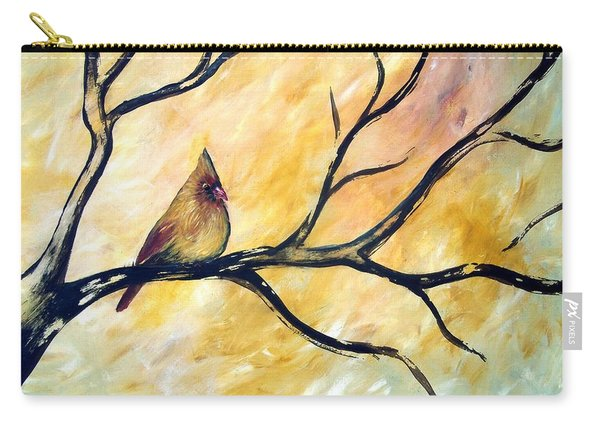 Carry-all Pouch featuring the painting Female Cardinal by Cynthia Amaral