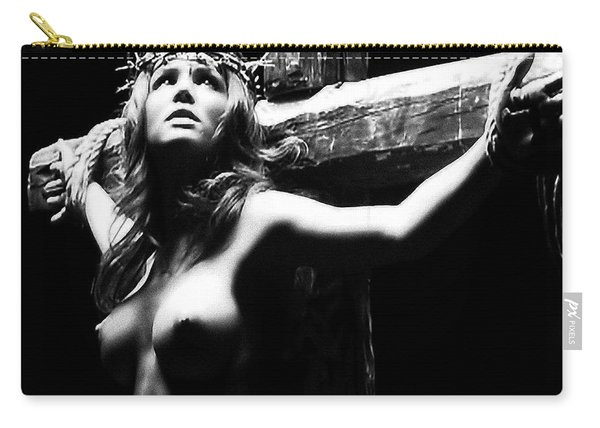 Female Christ Black And White Carry-all Pouch
