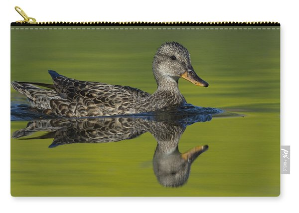Female Mallard Duck In Small Marsh Pond Carry-all Pouch