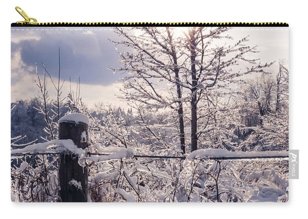 Fence And Tree Frozen In Ice Carry-all Pouch