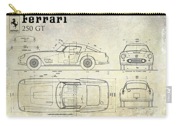 Ferrari 250 Gt Blueprint Antique Carry-all Pouch