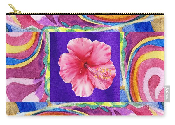 Festive Floral Hibiscus  Carry-all Pouch