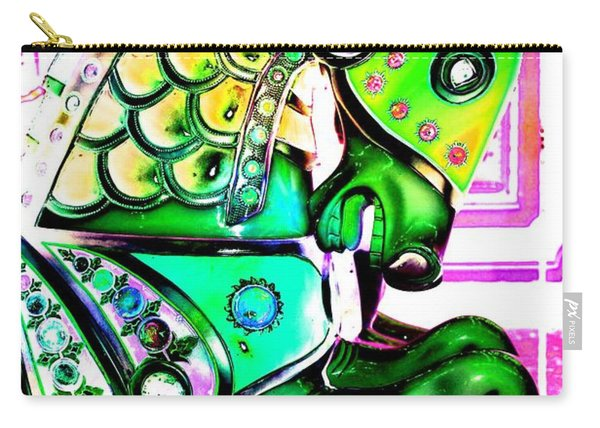 Festive Green Carnival Horse Carry-all Pouch