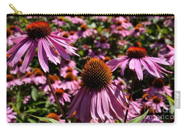 Carry-all Pouch featuring the photograph Field Of Echinaceas by Scott Lyons